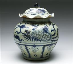 Sale 9164 - Lot 65 - A blue and white Chinese lidded jardiniere (H:30cm)
