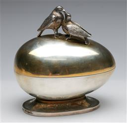 Sale 9175 - Lot 82 - An Austro Hungarian Silver Egg Container With Bird Finial Top (H:18cm, W: 16cm)