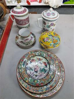 Sale 9176 - Lot 2572 - A group ceramics incl canton plates and lidded containers