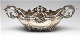 Sale 9211 - Lot 59 - A Heavy Silver Plated Elaborate Twin Handled Comport (W:45cm)