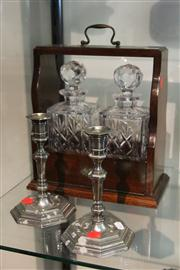 Sale 8098 - Lot 95 - Tantalus and a Pair of Candle Sticks