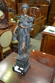Sale 8093 - Lot 1771 - Classical Style Spelter Figure on Marble & Malachite Base