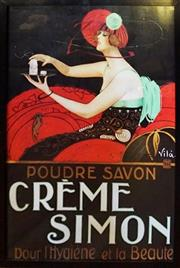 Sale 8320 - Lot 907 - Large framed Crème Simon advertising poster