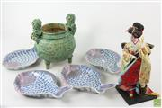 Sale 8594D - Lot 8 - Probably Chinese Green Glazed Censor w Dogs of Fo, Fish Plates & Japanese Doll