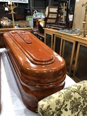 Sale 8697 - Lot 1612 - American Mahogany Coffin with Lined Interior & Glass Viewing Lift Top (H: 195 x W: 62 D: 48cm)