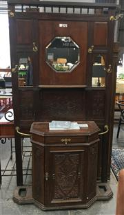 Sale 8740 - Lot 1704 - Late Victorian Carved Oak Hallstand, with mirrored back, a shelf, drawer & panel door (alterations) (miscellaneous items in office)
