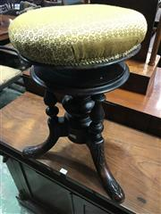 Sale 9014 - Lot 1053 - Victorian Elm Piano Stool, with round adjustable gold fabric seat