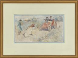 Sale 9099 - Lot 108 - French School  watercolour: The Obstacle, signed with initials: R.G.M. and dated 1902. Note: Faded