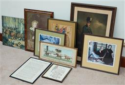 Sale 9103H - Lot 95 - A collection of sundry prints (some framed) including The Call to Arms for WWII.