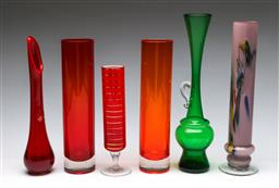 Sale 9164 - Lot 400 - Collection of coloured art glass vases (H:31cm to 21cm)