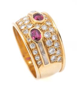 Sale 9177 - Lot 369 - AN 18CT GOLD RUBY AND DIAMOND RING; 12mm wide tapering convex band collet set with 2 oval cut rubies and 4 baguette cut diamonds to...