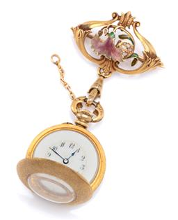 Sale 9194 - Lot 376 - AN ART NOUVEAU ENAMELLED 18CT GOLD AND DIAMOND WATCH PENDANT; manual watch with round white dial, Arabic numerals, textured gold cas...