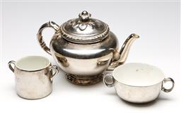 Sale 9254 - Lot 2418 - A Royal Worcester ceramic tea suite with silvered finish (Height of teapot: 16cm) - some slight wear apparent