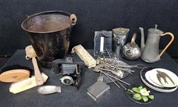 Sale 9254 - Lot 2362 - A large collection of sundries and items incl picnic basket, ice skates, fabric etc