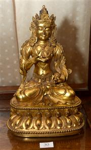 Sale 7997 - Lot 30 - CHINESE GILT BRONZE FIGURE OF VAIRASATTVA, XUANDE MARKS H: 25.5cm