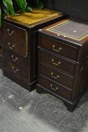 Sale 8058 - Lot 1006 - Pair of 2 Drawer Timber Filing Cabinet w Leather Tops