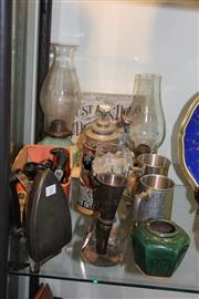 Sale 8269 - Lot 87 - Kerosene Lantern with Other Wares incl Pewter Goblet & Vintage Irons
