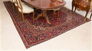 Sale 8341A - Lot 25 - A hand knotted Persian Kashan woolen carpet in rich tones and floral design, 360 x 253cm