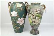 Sale 8422 - Lot 95 - English Handpainted Vase with a Tubelined Japanese Example