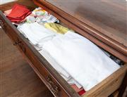 Sale 8838H - Lot 30 - A quantity of napery in three drawers to include good quality table cloths and napkins.