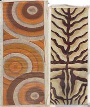 Sale 9053 - Lot 2095 - Artist Unknown (two works), Untitled, acrylic on canvas (unstretched- AF) 138.5 x 44.5 and 148 x 50 cm, each signed -