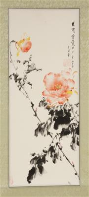 Sale 9086 - Lot 50 - Peonies themed Chinese scroll (L68cm W27cm)