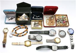 Sale 9144 - Lot 293 - Collection of costume jewellery and mens watches - untested