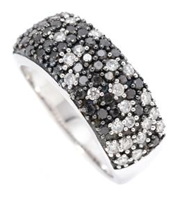 Sale 9164J - Lot 393 - A 14CT WHITE GOLD BLACK AND WHITE DIAMOND RING; 8.7mm wide tapered band pave set across the top with 44 round black diamonds & 22 ro...