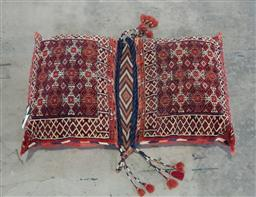 Sale 9179 - Lot 1038 - East Persian Wool Saddle Bag Style Double Cushion, with alternation red & white geometric panels within hooked borders, joined by ch...