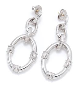 Sale 9186 - Lot 330 - A PAIR OF SILVER DROP EARRINGS; looped ring design to stud fittings, size 63 x 27mm, wt. 13.54g.