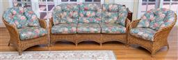 Sale 9190H - Lot 437 - A cane three piece suite comprising of three seater and two singles, by coastal imports, Height of back 86cm x Width of sofa 188cm