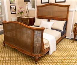 Sale 9248H - Lot 154 - A French rattan and carved timber bed, width 160 x 210cm h 155cm