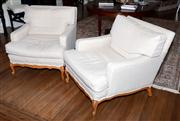 Sale 8048A - Lot 14 - Pair of French oversized armchairs with beige linen upholstery. 84 (h) x 79 (w) 104 (d)