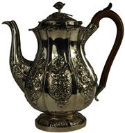 Sale 8057 - Lot 23 - English Hallmarked Sterling Silver George IV Coffee Pot
