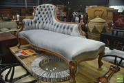Sale 8326 - Lot 1446 - Victorian Style Carved Chaise Lounge In Silver Upholstery