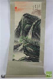 Sale 8512 - Lot 39 - Chinese Scroll Depicting Mountain and River Scene Signed, (L 353cm)