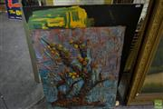 Sale 8563T - Lot 2210 - 2 Works: Abstract Paintings by Unknown Artists (largest 66 x 78cm).