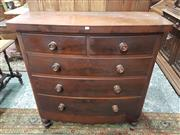 Sale 8917 - Lot 1042 - Victorian Mahogany Bow Front Chest of Five Drawers, Height 123cm x Width 118cm x Depth 48cm