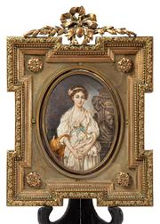 Sale 9083N - Lot 37 - An exquisite French  C19th gilt framed oval portrait of a lady in a classical landscape. Height of oval 18cm Total frame size H 38cm