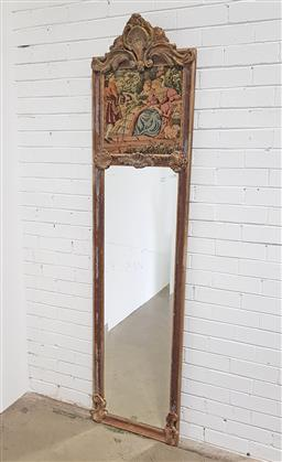 Sale 9126 - Lot 1240 - Gilt framed slim trumeau mirror with tapestry depicting dames (h:216 x w:53cm)