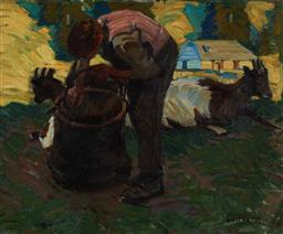 Sale 9150A - Lot 5006 - WERNER FUEZ (1882 - 1956) Feeding the Goats, c1900s oil on canvas 38 x 47 (frame: 53 x 61 x 6 cm) signed and dated indistinctly lowe...