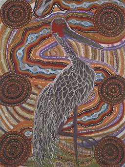 Sale 9188A - Lot 5044 - MALCOLM MALONEY JAGAMARRA (1955 - ) Brolga acrylic on linen 123 x 92 cm (stretched and ready to hang) signed lower centre