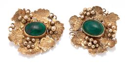 Sale 9186 - Lot 364 - A PAIR OF ANTIQUE 9CT GOLD STONE SET EAR PENDANTS; each rub set with an oval cabochon malachite to surround of grape vines, no fitti...