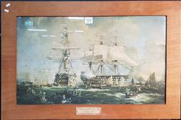 Sale 9208 - Lot 2060 - Print of H M Ships at Plymouth in 1860 (69x105cm)