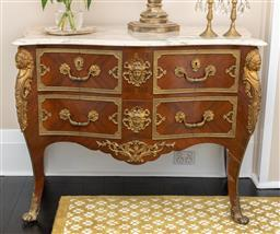 Sale 9248H - Lot 155 - A Pair of marble top commodes with caryatid ormolu mounts,height 80 x width 100 x depth 54cm