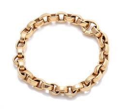 Sale 9260H - Lot 355 - An 18ct gold bracelet; 7.5mm wide cable links to integrated clasp, length 19.5mm, wt. 30.92g.