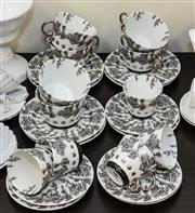 Sale 8310A - Lot 112 - French cups saucers and Plates in black white and gold by BNG Home design for Limoges.
