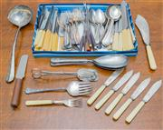 Sale 8402H - Lot 66 - A small quantity of cutlery, including xylonite handled dinner knives, forks and tablespoons etc. Together with sundry fish knives a...