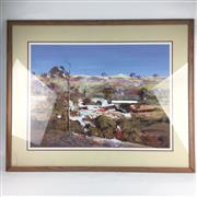 Sale 8545N - Lot 176 - Chris Huber, watercolour, small crack to glass (73cm x 55cm)