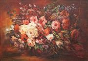 Sale 8573 - Lot 2007 - C20th European School - Still Life - Roses 49.5 x 70cm